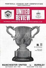 Football Programme>MAN UTD v BURNLEY Oct 1969 FLC