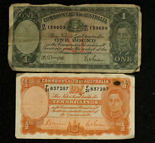 1939-1942 Commonwealth of Australia George VI 10 Ten Shillings & 1 Shilling Note
