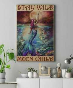 Stay Wild Moon Child-Mermaid Canvas 0.75 & 1.5 In Framed -Home Living - Wall Dec