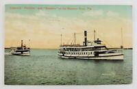 Postcard Steamer Ships on the Manatee River Florida 1911
