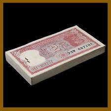 India 2 Rupees x 100 Pcs Bundle, 1985-1990 P-53Ac Letter A Sig# 85 Staples Unc