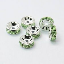 10 x 8mm Green Rhinestone Brass Spacer Beads