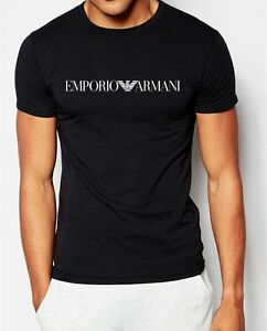 EMPORIO ARMANI Schwarz Kurzarm T-shirt E.A, Baumwolle, -Größe: M,L,XL