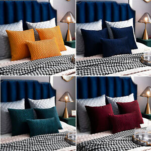 2 Pack Throw Pillow Cases Wave Striped Velvet Decorative Couch Cursion Covers