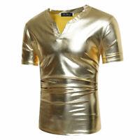 Men Boys Night Club Style T Shirt V Neck Slim Fit Short Sleeve Party Tops Trendy