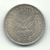 Palestine British Mandate Silver Coin Israel 50 Mils Mil 1939 KM6 AU Ww2 Free SH