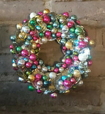"Vintage Mercury Glass Tin Can Handmade One Of A Kind Christmas Wreath 12"""