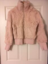 PINK FAUX RABBIT FUR JACKET SIZE S