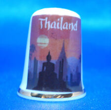Birchcroft China Thimble -- Travel Poster Series - Thailand - Free Dome Gift Box