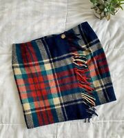 Vintage RALPH LAUREN Country sz 8 Blanket Wrap Mini Skirt Wool Fringe Trim Plaid