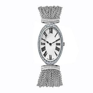Solid 925 Sterling Silver women's wrist watch Oval Dial Link chain Bracelet