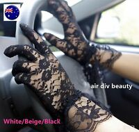 Woman Lady Party Prom Opera Bridal Fancy Costume Lace ruffle trim SHORT Gloves