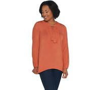 Denim & Co. Lace-Up V-Neck Long Sleeve Top W/ Crochet Detail Size 2X Apricot