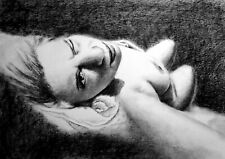 tekin wife artistic nude, draw on charcoal, A3 paper