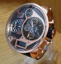Mens XXL Oversized 3x Combi Dual Display Rose-Gold & Black Big Massive Watch