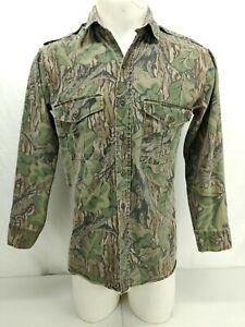 "Vintage Mossy Oak Hunting Shirt Medium Mens 41""PTP Full Foliage Camo Button USA"
