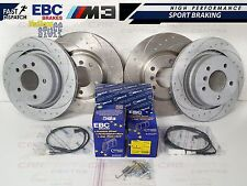 BMW E36 M3 EVO FRONT REAR DIMPLED GROOVED BRAKE DISC DISCS EBC YELLOW PADS SHOES