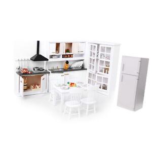 1/12 Dollhouse Miniature White Cabinet Fridge Kitchen Furniture Accessories