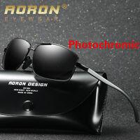 Aluminum Polarized Photochromic Sunglasses Pilot Men Chameleon Driving Glasses