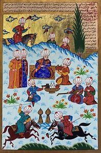 Polo Art Ottoman Sultan Mehmed Turkish Islamic Miniature Painting Manuscript Art