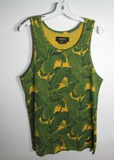 10.DEEP Men's Size Small Green & Yellow Tropical Leaf Print Scoop Neck Tank Top