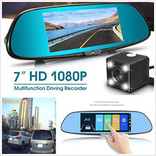 7in Dual Lens Car Dash Camera DVR Rearview Mirror Video Recorder Touch Screen