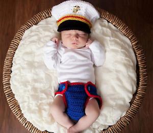Captain Newborn Baby Girl Boy Crochet Knit Navy Costume Photo Photography Prop