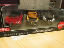 SIKU BUGATTI SET 4 NEW BOXED 3 VEYRON CARS 621300703 1/55 SCALE
