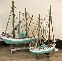 Aqua Green Heavily Distressed Wooden Trawler Decorative Fishing Boat Ornament