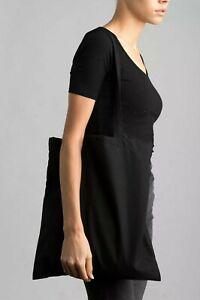 Premium Black 100% Cotton Tote bag Eco Shoulder Long Handle Shopping Plain Life