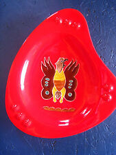 RED Vntg S.W. -N. A. Design Ashtray Made in Arizona -Cabin -Lodge -Man Cave