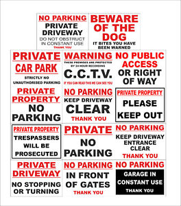 No Parking CCTV Private, Keep Clear, Car Park, Trespassers, Gates, Dog Signs