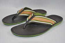 LOUIS VUITTON  GREEN/BROW  LOGO FLIP FLOPS size 10