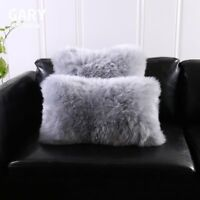 Single-Sided Gray Australia Sheepskin Pillow Sofa Cushion Cover Fur pillowcase