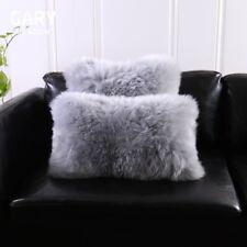 Single-Sided Gray Australia Sheepskin Pillow Sofa Cushion Cover Fur pillowcase