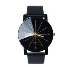 Neue Luxus Armbanduhr Männer Frauen schwarz Kunstleder Quarzuhr Herren Damen