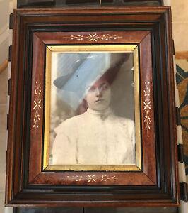 Antique c. 1870 Victorian Eastlake Deep Well Walnut Gold Gilt Frame