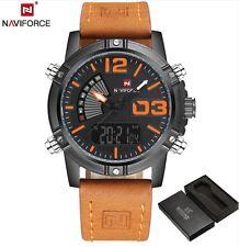 2017 Naviforce 9095 Sport Military Watch Dual LED Digital Analog Quartz Leather