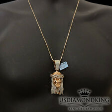 """2.75"""" ROSE GOLD OVER STERLING SILVER .33CT GENUINE REAL DIAMOND JESUS HEAD CHAIN"""