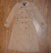 Vintage Femme BURBERRYS classique beige stone Long Trench Manteau Boutonné UK 12