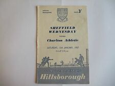 Sheffield Wednesday v Charlton Athletic - Division One - Sat 12th Jan 1957