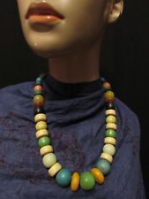 V6 Old Tribal model runway Multi color fashion bone resin bead NECKLACE pendant