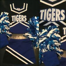 4pc Real Cheerleading Uniform Tigers Girls 8-10 Poms +briefs