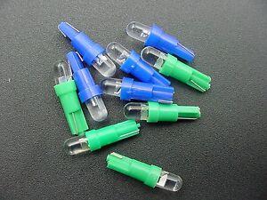 For Ford 5 Blue 5 Green 12V LED Wedge Instrument Panel Lights Bulbs Globes NOS