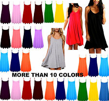 LADIES PLAIN SLEEVELESS STRAPPY SWING CAMI CASUAL LONG VEST DRESS PLUS SIZE cmiL