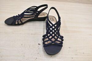 Naturalizer Remix Strappy Slingback Sandals, Women's Size 10W, Navy NEW