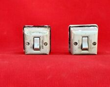 Pair of Vintage Old Collectible Bakelite Ceramic Square Switches India