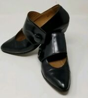 Giraudon Womens Leather Side Button Flats Black - Size 38 - 7 1/2