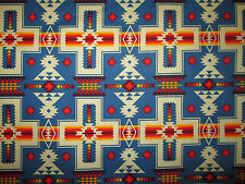Navajo Cross Blue Orange Native American Print Cotton Fabric FQ