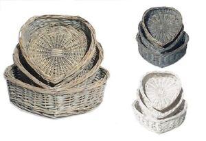 Heart Shape White Washed Wicker Easter Wedding Xmas Hamper Storage Gift Basket